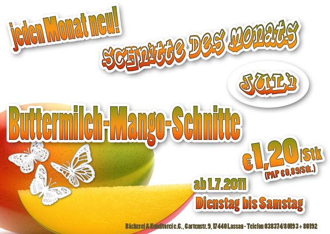 Lassan, Bäckerei, Mango, Buttermilch, Schnitte, Schnitte des Monats, Angebot