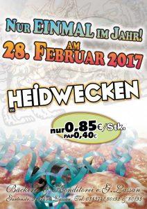 Bäckerei Konditorei Lassan Aktion 2017 Pfannkuchen Rosenmontag Karneval Fasching Heidwecken Wecken