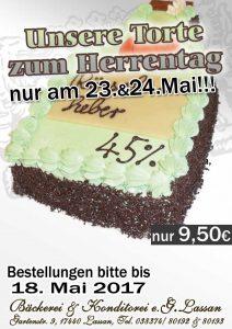 Torte Angebot Herrentag Vatertag 2017 Bäckerei Konditorei Lassan