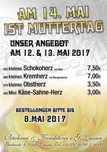 Torten Angebot Muttertag 2017 Bäckerei Konditorei Lassan