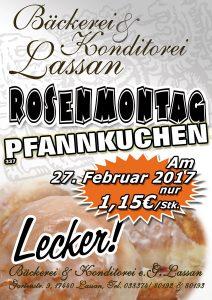 Bäckerei Konditorei Lassan Aktion 2017 Pfannkuchen Rosenmontag Karneval Fasching