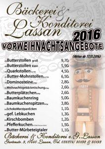 Angebote zu Weihnachten 2016 von der Bäckerei und Konditorei Lassan